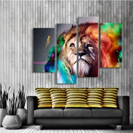 Lion Head with Colorful Hair Hanging 4-Piece Canvas Non-framed Wall Prints
