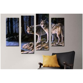 Two Wolves on The Lakeside Hanging 4-Piece Canvas Non-framed Wall Prints