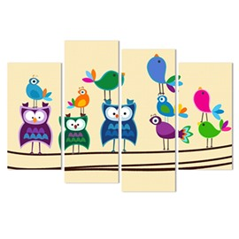 Birds and Fishes Hanging 4-Piece Canvas Non-framed Wall Prints