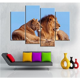 Brown Lions Hanging 4-Piece Canvas Waterproof and Eco-friendly Non-framed Prints