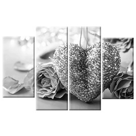 Grey Roses and Heart-shaped Decoration Hanging 4-Piece Canvas Waterproof and Eco-friendly Non-framed Prints