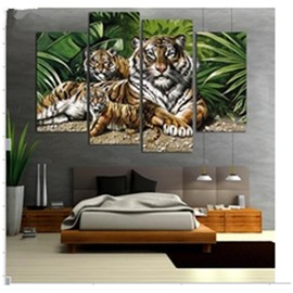 Tiger Pattern and Green Plants Hanging 4-Piece Canvas Waterproof and Eco-friendly Non-framed Prints