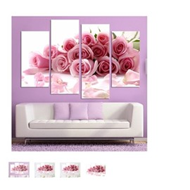 Pink Roses Hanging 4-Piece Canvas Waterproof and Eco-friendly Non-framed Prints