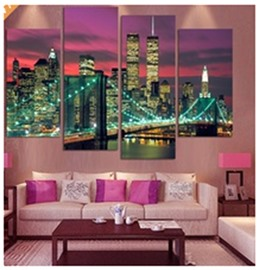 Buildings in City Night Hanging 4-Piece Canvas Waterproof and Eco-friendly Non-framed Prints