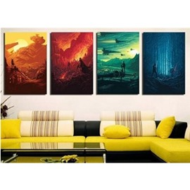 16×24in×4 Panels Yellow Orange Green and Blue Hanging Canvas Non-framed Wall Prints
