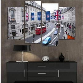 British Street Hanging 4-Piece Canvas Waterproof and Eco-friendly Non-framed Prints