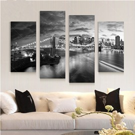 White and Black City Night Hanging 4-Piece Canvas Waterproof and Eco-friendly Non-framed Prints