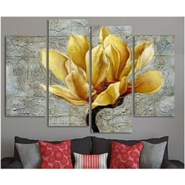 Yellow Flower Hanging 4-Piece Canvas Non-framed Waterproof and Environmental Wall Prints