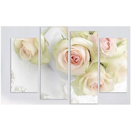 White Roses Hanging 4-Piece Canvas Non-framed Waterproof and Environmental Wall Prints