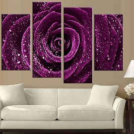 Purple Rose Hanging 4-Piece Canvas Non-framed Waterproof and Environmental Wall Prints
