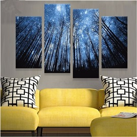 Blue Star Sky and Forest Hanging 4-Piece Canvas Non-framed Waterproof Wall Prints