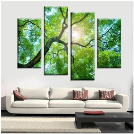 Green Forest and Sunshine Hanging 4-Piece Canvas Non-framed Wall Prints