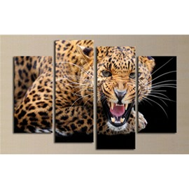Fierce Leopard Hanging 4-Piece Canvas Waterproof and Environmental Non-framed Prints