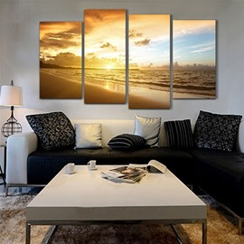 Sunrise on Beach Hanging 4-Piece Canvas Waterproof and Environmental Non-framed Prints