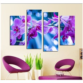 Purple Flowers Hanging 4-Piece Canvas Waterproof and Environmental Non-framed Prints