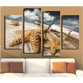 Starfishes and Bottle Lying on Beach Hanging 4-Piece Canvas Waterproof Non-framed Wall Prints