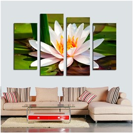 White Lotus Lying on Leaves Hanging 4-Piece Canvas Non-framed Waterproof Wall Prints