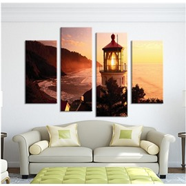 Yellow Sunrise and Tower on Beach Hanging 4-Piece Canvas Waterproof Non-framed Prints