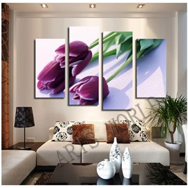 Purple Tulips Hanging 4-Piece Canvas Waterproof and Eco-friendly Non-framed Prints