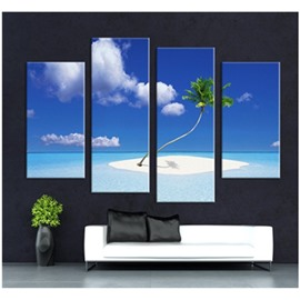 Blue Sky and Palm on Beach Hanging 4-Piece Canvas Waterproof Non-framed Prints