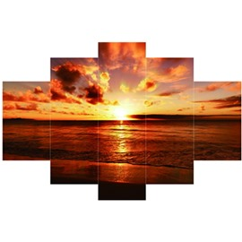 Orange Sunrise Hanging 5-Piece Canvas Eco-friendly and Waterproof Non-framed Prints