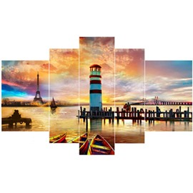 Lake and Architectures in Dusk Hanging 5-Piece Canvas Eco-friendly and Waterproof Non-framed Prints