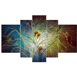 Birds on The Tree Hanging 5-Piece Canvas Eco-friendly and Waterproof Non-framed Prints