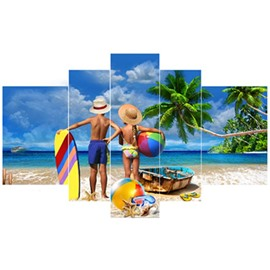 Couple on Beach Hanging 5-Piece Canvas Eco-friendly and Waterproof Non-framed Prints