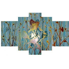 Birds on Branches Hanging 5-Piece Canvas Eco-friendly and Waterproof Non-framed Prints