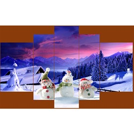 Snowmen and House Hanging 5-Piece Canvas Eco-friendly and Waterproof Non-framed Prints