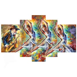 Dancers and Saxophonist Hanging 5-Piece Canvas Eco-friendly and Waterproof Non-framed Prints