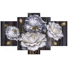 White Flowers Hanging 5-Piece Canvas Eco-friendly and Waterproof Non-framed Prints