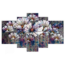 White Flowers with Colorful Spray Paint Hanging 5-Piece Canvas Waterproof Non-framed Prints