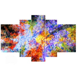 Colorful Leaves Pattern Hanging 5-Piece Canvas Eco-friendly and Waterproof Non-framed Prints