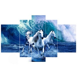 White Horses Running in Blue Sea Hanging 5-Piece Canvas Waterproof Non-framed Prints
