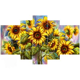 Yellow Sunflowers with Green Leaves Hanging 5-Piece Canvas Eco-friendly and Waterproof Non-framed Prints