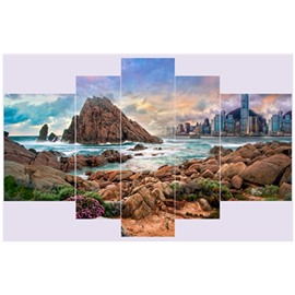 Water Surrounding Mountains and Architectures Hanging 5-Piece Canvas Eco-friendly and Waterproof Non-framed Prints