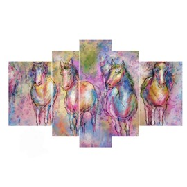 Colorful Horses Hanging 5-Piece Canvas Eco-friendly and Waterproof Non-framed Prints