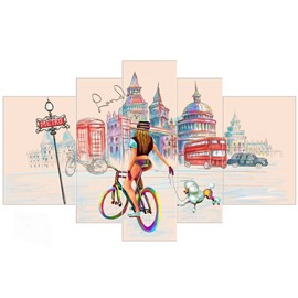 Architectures and Girl Running Bicycle Hanging 5-Piece Canvas Eco-friendly and Waterproof Non-framed Prints