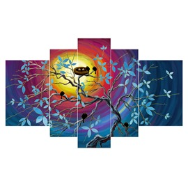 Birds on Branches Watching Sky Hanging 5-Piece Canvas Eco-friendly and Waterproof Non-framed Prints