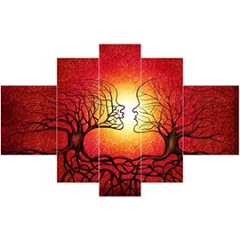 Yellow Sun in Red Background and Girls Branches Hanging 5-Piece Canvas Waterproof Non-framed Prints