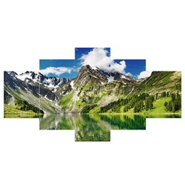 Green Mountains in Blue Sky Hanging 5-Piece Canvas Eco-friendly and Waterproof Non-framed Prints