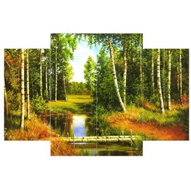 Green Forest Surrounding River Hanging 4-Piece Canvas Waterproof and Eco-friendly Non-framed Prints