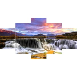 Sunset and Waterfall Hanging 5-Piece Canvas Eco-friendly and Waterproof Non-framed Prints