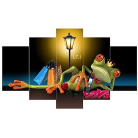 Lying Green Frog in Light Hanging 5-Piece Canvas Waterproof and Eco-friendly Non-framed Wall Prints