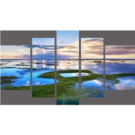 Green Plants and Lake Hanging 5-Piece Canvas Eco-friendly and Waterproof Non-framed Prints