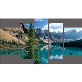 Snow Mountain Surrounding Lake Hanging 5-Piece Canvas Eco-friendly and Waterproof Non-framed Prints