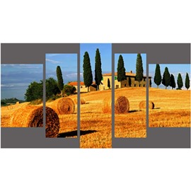 Golden Field and Houses Hanging 5-Piece Canvas Eco-friendly and Waterproof Non-framed Prints