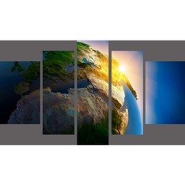 Huge Planet Hanging 5-Piece Canvas Eco-friendly and Waterproof Non-framed Prints