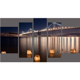 Bridge over Lake and Lighting Hanging 5-Piece Canvas Eco-friendly and Waterproof Non-framed Prints